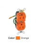 Leviton 8200-LIG - 15 Amp - 125 Volt - NEMA 5-15R - 2P - 3W - Slim Body Duplex Receptacle - Straight Blade - Hospital Grade - Leaded - Isolated Ground w/6 Inch Lead - Back & Side Wired - Steel Strap - Orange