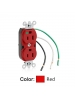 Leviton 8200-LR - 15 Amp - 125 Volt - NEMA 5-15R - 2P - 3W - Heavy Duty Hospital Grade - Duplex Receptacle - Straight Blade - Leaded - Smooth Face - Steel Strap - Red