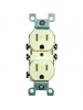Leviton 5320-SI 15 Amp, 125 Volt, Duplex Receptacle, Residential Grade, Self-Grounding, Ivory
