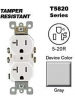 Leviton T5820-GY 20 Amp, 125 Volt, Tamper Resistant, Duplex Receptacle, Straight Blade, Residential Grade, Self Grounding, Gray