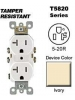 Leviton T5820-I 20 Amp, 125 Volt, Tamper Resistant, Duplex Receptacle, Straight Blade, Residential Grade, Self Grounding, Ivory