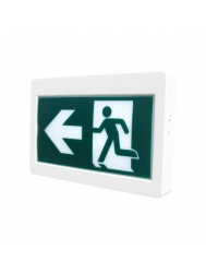 Etlin Daniels EX200WH-A13BB-GU - LED Running Man Exit Sign Thermoplastic Single & Double Sided - Battery Back Up - Remote Capability - 120/347V