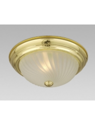 "635118PB 11-1/8""  Flush Mount - Polished Brass w/ Frosted Swirl Glass  Ceiling Fixture"