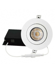 "DawnRay DR400GW - 4"" OCCT Round Gimbal Slim Panel - 9W - 100-125V AC - 0.09A - 700 Lumens - 38° Beam Angle - 3000K, 4000K, 5000K All in One - White Trim - Dimmable"