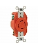 Leviton 2410-IG - 20 Amp - 125/250 Volt - NEMA L14-20R - Flush Mtg Locking Receptacle - Industrial Grade - Orange