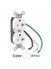 Leviton 5340-W - Slim Body Duplex Receptacle - 20 Amp - 125 Volt - NEMA 5-20R - 2P - 3W - Straight Blade - Commercial Grade - White