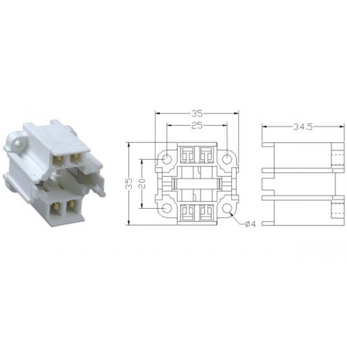 cfl d  e 26w 4 pin vertical screw mount socket g24q 3