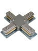 Brushed Nickel X-Connector - Single Circuit 2 Wire Track System - Liteline XC6104-BN