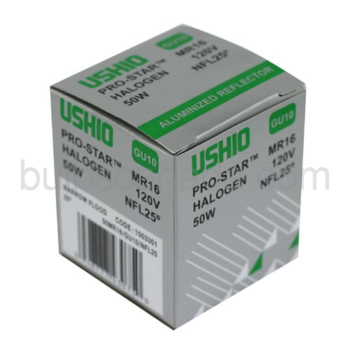 Jdr120v75ww E26 Fg Mr16 Halogen Light Bulb: Ushio Pro-Star 50W 25D MR16 W/Glass Cover -GU10 Base
